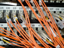 Data connections. Fiber cables connected with a san switch Royalty Free Stock Images