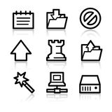 Data contour web icons. Vector web icons, black contour series Stock Photography