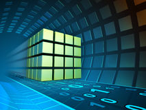 Data cube in a tunnel. Data cube traveling through a tunnel. 3D illustration Stock Photo
