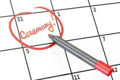 Data da cerimônia no conceito do calendário, rendição 3D Fotografia de Stock