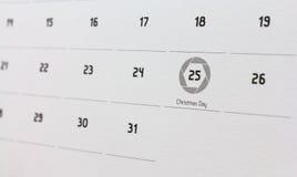 Data de calendário do Natal 2015 Imagens de Stock Royalty Free