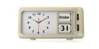 Data de Dia das Bruxas 2019, o 31 de outubro em um despertador retro isolado no fundo branco ilustração 3D ilustração stock