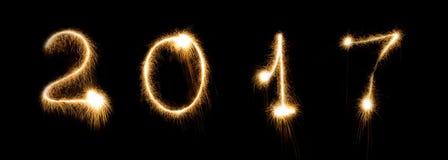 Data de incandescência brilhante do número da rotulação da fonte da véspera de anos novos do chuveirinho do fogo de artifício Imagens de Stock