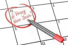 Data del buon anno sul concetto del calendario, rappresentazione 3D Fotografie Stock Libere da Diritti