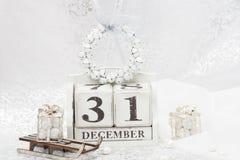 Data del nuovo anno sul calendario 31 dicembre Natale Fotografia Stock Libera da Diritti