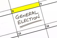 Data delle elezioni generale su un calendario fotografie stock