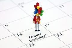 Data di calendario di buon compleanno Immagini Stock