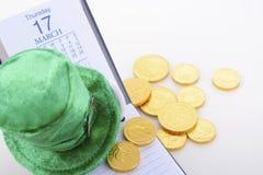 Data di calendario di giorno della st Patricks Fotografie Stock Libere da Diritti