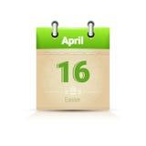 Data di calendario pagina Pasqua festa 16 aprile Fotografia Stock