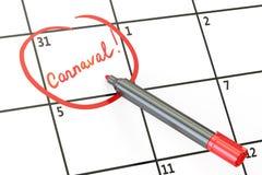 Data di carnevale sul concetto del calendario, rappresentazione 3D Fotografie Stock
