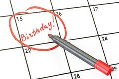 Data di compleanno sul concetto del calendario, rappresentazione 3D Immagine Stock