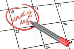 Data di giorno delle nozze sul concetto del calendario, rappresentazione 3D Immagine Stock