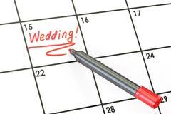 Data di nozze sul concetto del calendario, rappresentazione 3D Fotografia Stock Libera da Diritti