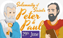 Data di ricordo per solennità dei san Peter e Paul, illustrazione di vettore Immagine Stock Libera da Diritti