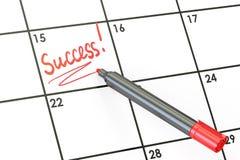 Data di successo sul concetto del calendario, rappresentazione 3D illustrazione di stock
