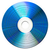 Data disk. Binary data on blue-ray disk. Isolated Stock Image