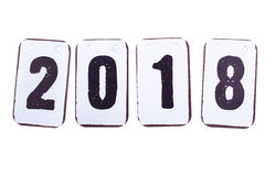 Data do ano 2018 nas telhas do metal isoladas Fotografia de Stock Royalty Free