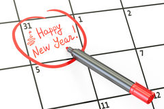 Data do ano novo feliz no conceito do calendário, rendição 3D Fotos de Stock Royalty Free