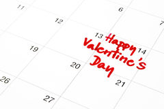 Data do 14 de fevereiro no calendário, o dia de Valentim Fotografia de Stock