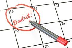 Data do dentista no conceito do calendário, rendição 3D Fotografia de Stock Royalty Free