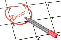 Data do jantar no conceito do calendário, 3D ilustração do vetor