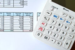 Data document and calculator Royalty Free Stock Photos