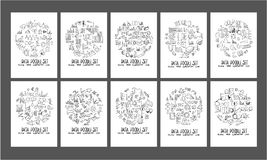 Data doodle illustration circle form on a4 paper wallpaper backg. Round line sketch style set Royalty Free Stock Image