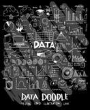 Data doodle illustration wallpaper background line sketch style. Set on chalkboard Stock Photography