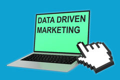 Data-Driven Marketing concept. 3D illustration of DATA DRIVEN MARKETING script with pointing hand icon pointing at the laptop screen Royalty Free Stock Photos