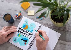 Data driven marketing concept on a notepad Stock Image