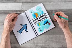 Data driven marketing concept on a notepad. Data driven marketing concept drawn on a notepad royalty free stock photo