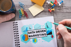 Data driven marketing concept on a notepad. Data driven marketing concept drawn on a notepad placed on a desk stock photography