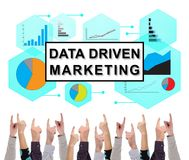 Data driven marketing concept pointed by several fingers. Data driven marketing concept on white background pointed by several fingers royalty free stock image