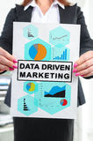 Data driven marketing concept shown by a businesswoman Stock Photography