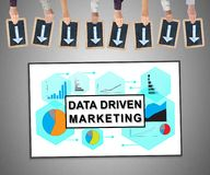 Data driven marketing concept on a whiteboard. Hands holding writing slates with arrows pointing on data driven marketing concept stock photo