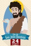 Data e ritratto di ricordo per il ` s EVE di St John nello Spagnolo, illustrazione di vettore royalty illustrazione gratis