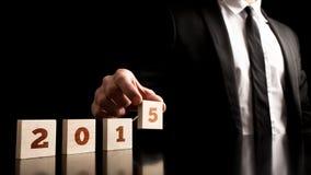 Data 2015 em um fundo preto puro Fotografia de Stock Royalty Free