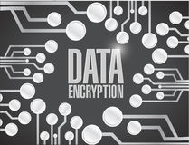 Data encryption circuit board illustration design Stock Images