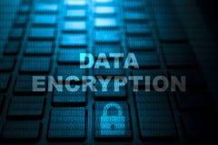 Data encryption keyword on keyboard. Data encryption keyword concept on computer keyboard technology background macro shot vector illustration