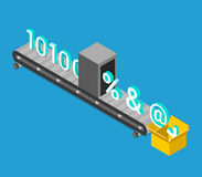 Data encryption process binary converting flat isometry vector Royalty Free Stock Image
