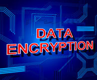 Data Encryption Sign Represents Www Keyboard And Bytes Stock Image