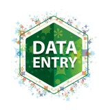Data Entry floral plants pattern green hexagon button stock illustration