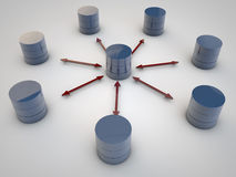 Data Exchange. Symbolic Data Exchange between Databases symbolyzed by red arrows Stock Photos