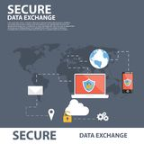 Secure Data Exchange Flat Icon Banner Concept Stock Photo