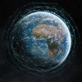 Data exchange and global network over the world 3D rendering Stock Photos