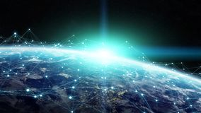 Data exchange and global network over the world 3D rendering Royalty Free Stock Photos