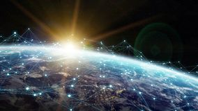 Data exchange and global network over the world 3D rendering Stock Image