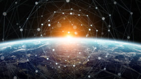 Data exchange and global network over the world 3D rendering Stock Photo