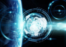 Data exchange and global network over the world 3D rendering. Elements of this image furnished by NASA royalty free illustration