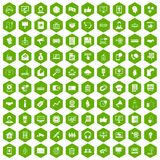 100 data exchange icons hexagon green. 100 data exchange icons set in green hexagon isolated vector illustration stock illustration